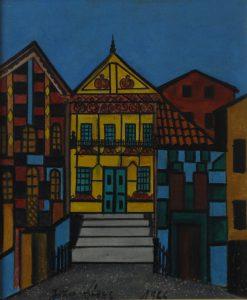 """João Alves Oliveira da Silva. """"Rua"""". Óleo sobre tela, 55 x 46 cm. 1966."""