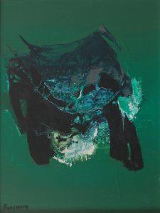 """Takashi Fukushima. """" Abstração"""". Óleo sobre tela, 40 x 30. 1967"""