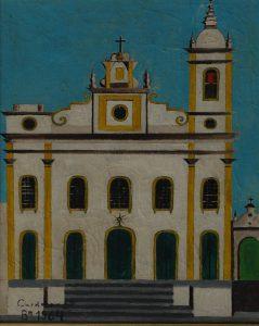 """Antônio Cardoso e Silva. """"Igreja"""".  Acrílica sobre tela, 50 x 40 cm. 1964."""
