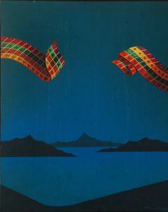 """César Romero. """"Dois emblemas azuis. Acrílica  sobre tela, 50 40 cm. 1984"""