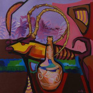 """Gil Mário. """"O Nordeste de Inhô Alul"""". Acrílica sobre tela, 60 x 60 cm. 2005."""