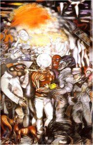"""Carlo Barbosa. """"O Flagelo de Lucas da Feira"""". Acrílico sobre tela, 240 x 150. cm. 1987."""