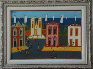 """Adelson do Prado. """"Casario"""". Óleo sobre tela, 50 x 73 cm. 1967."""