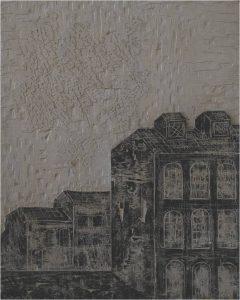 """Calasans Neto. """"Casarão"""". Entalhe, 81 x 65 cm. 1966."""