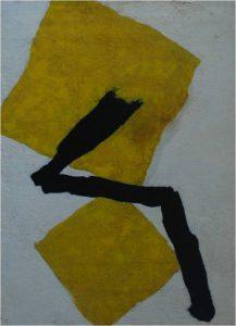 "Tomie Ohtake. ""Amarelo"". Óleo sobre tela, 135 x 99 cm. 1966."